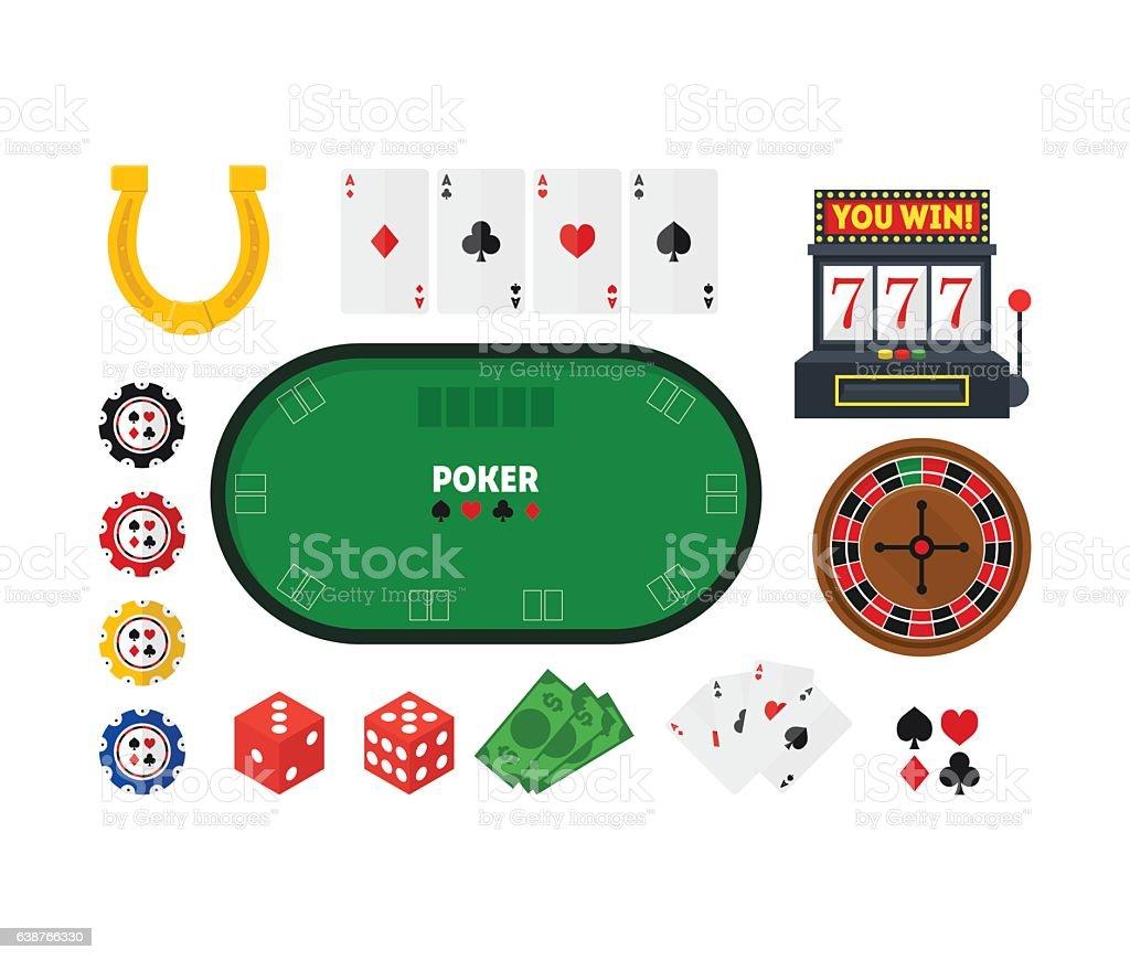 Cartoon Poker Set. Vector vector art illustration