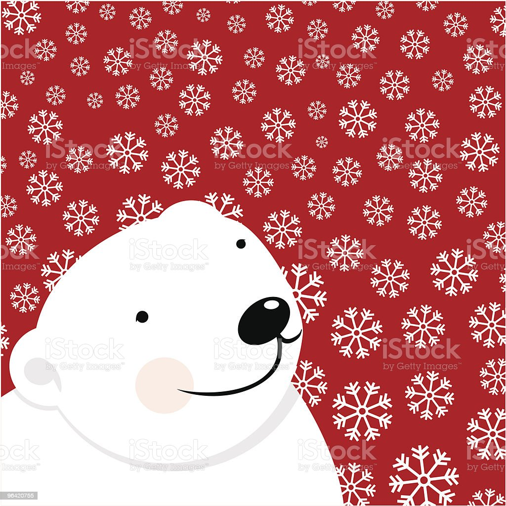 Cartoon polar bear on red background with snowflakes vector art illustration