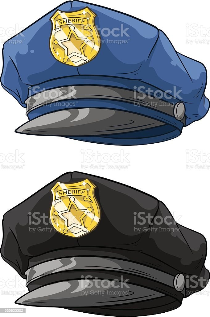Cartoon police hat with golden badge set vector art illustration