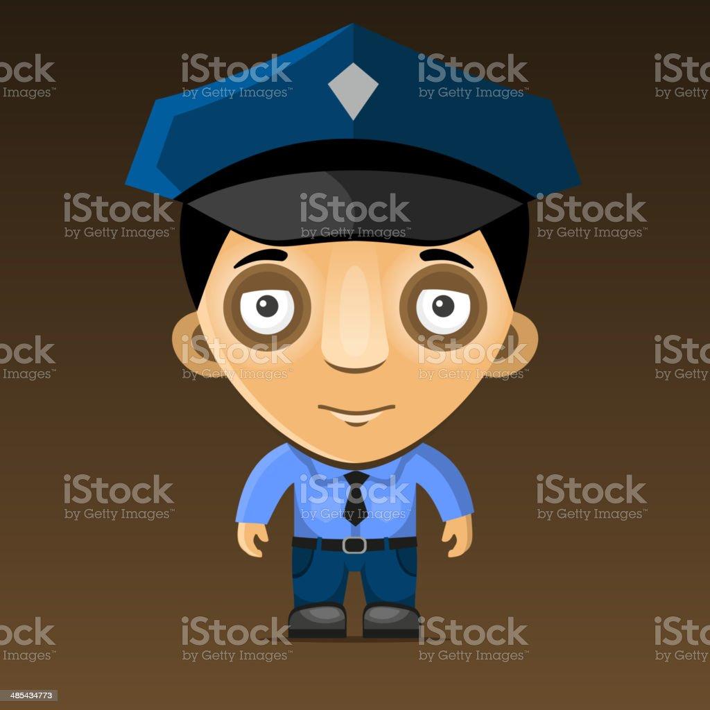 Cartoon Police Officer on Dark Background. Vector royalty-free stock vector art