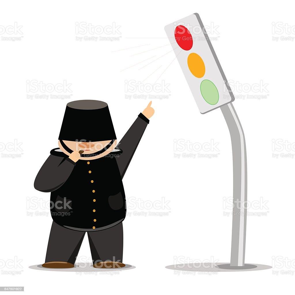 Cartoon policeman in black uniform on shows red light royalty-free stock vector art