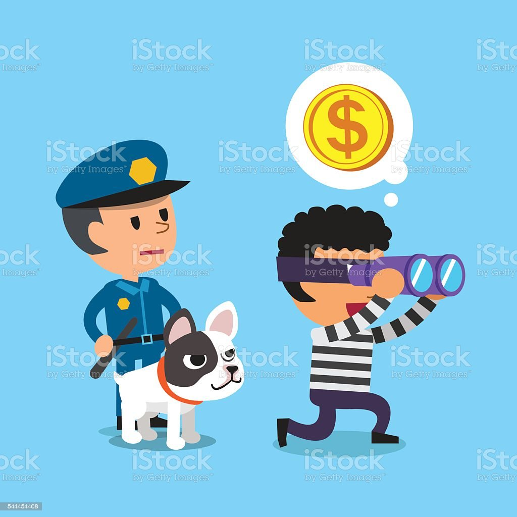 Cartoon policeman standing behind a thief with dog vector art illustration