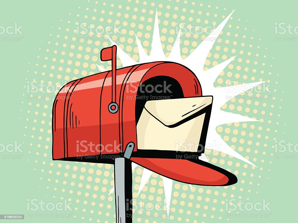 Cartoon pop art red mailbox send letter vector art illustration