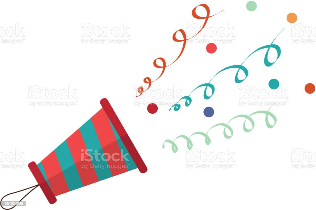 Cartoon popper on a white background. Streamers and confetti vector art illustration