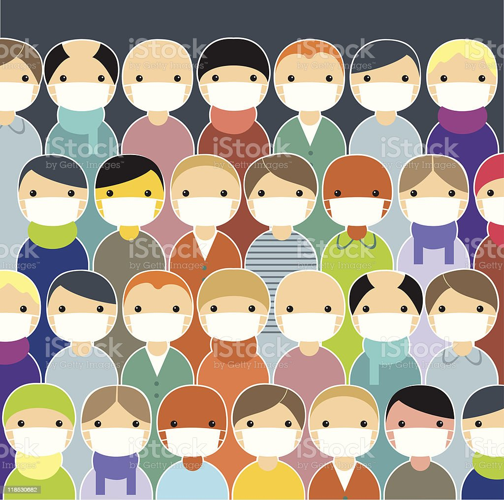 Cartoon population wearing face masks to prevent epidemic vector art illustration