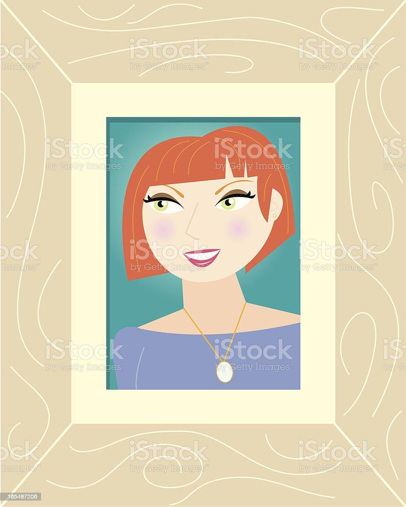 Cartoon Portrait in a Frame vector art illustration
