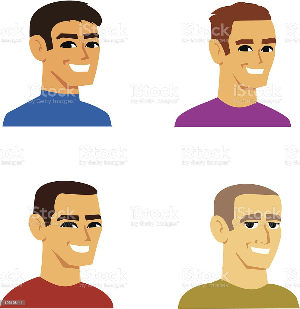 Cartoon Portrait of Caucasian man (SET 20) royalty-free stock vector art