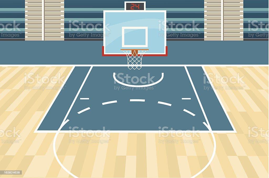Cartoon portrayal of a basketball court royalty-free stock vector art