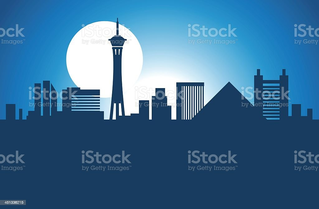 Cartoon portrayal of Las Vegas skyline vector art illustration