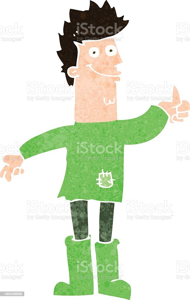 cartoon positive thinking man in rags royalty-free stock vector art
