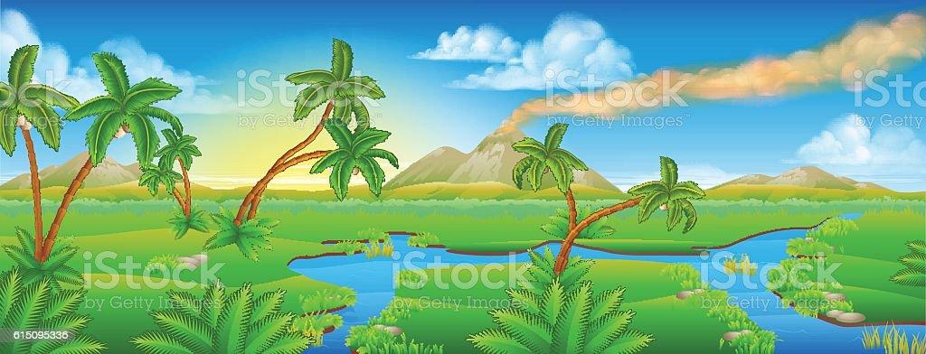 Cartoon Prehistoric Background Scene Landscape vector art illustration