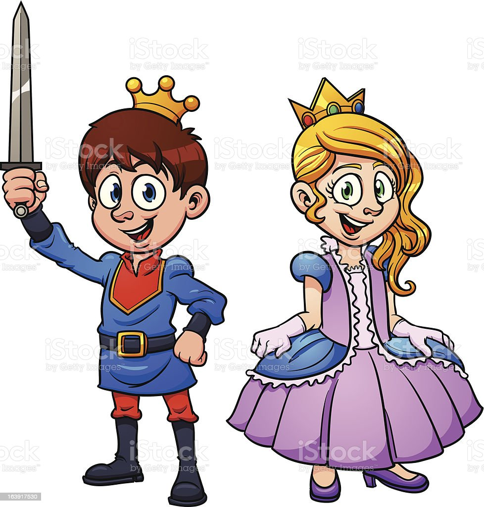 Cartoon prince carrying a sword and princess in purple dress royalty-free stock vector art