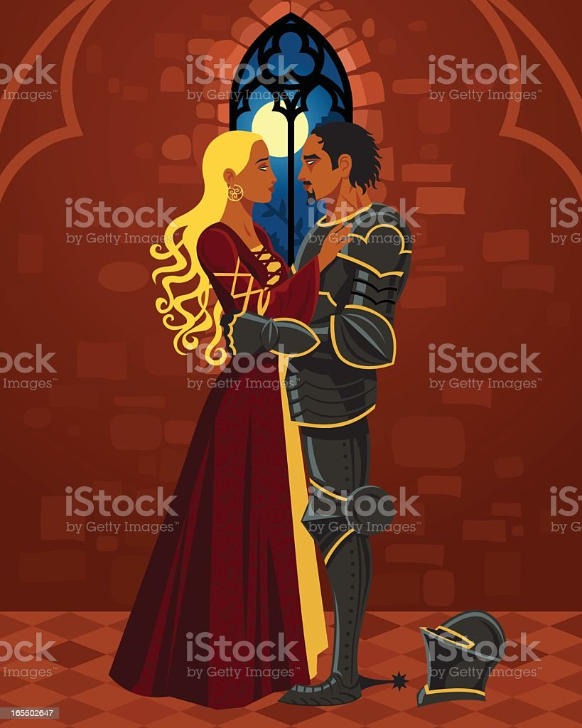 Cartoon Princess and Knight Embrace in Castle vector art illustration