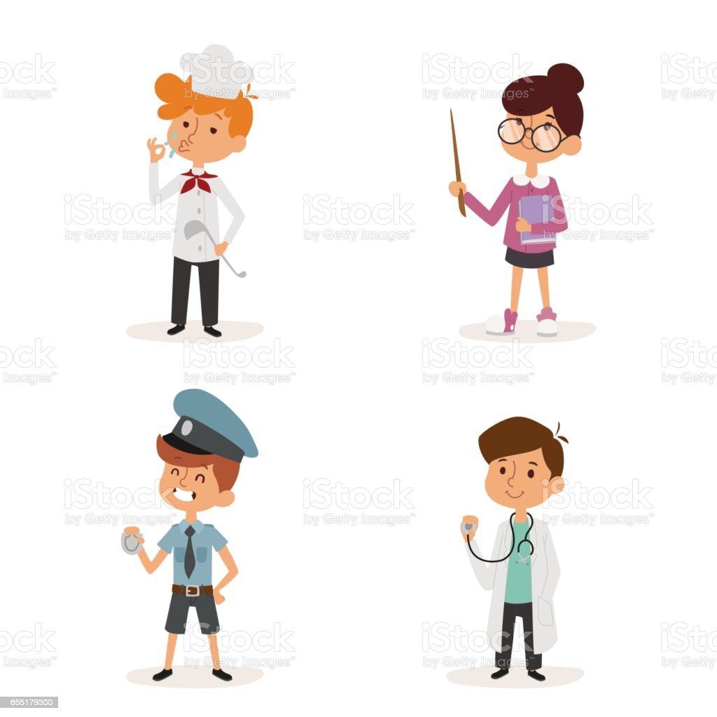 cartoon profession kids children vector set illustration person childhood chef policeman doctor teacher uniform worker character vector art illustration