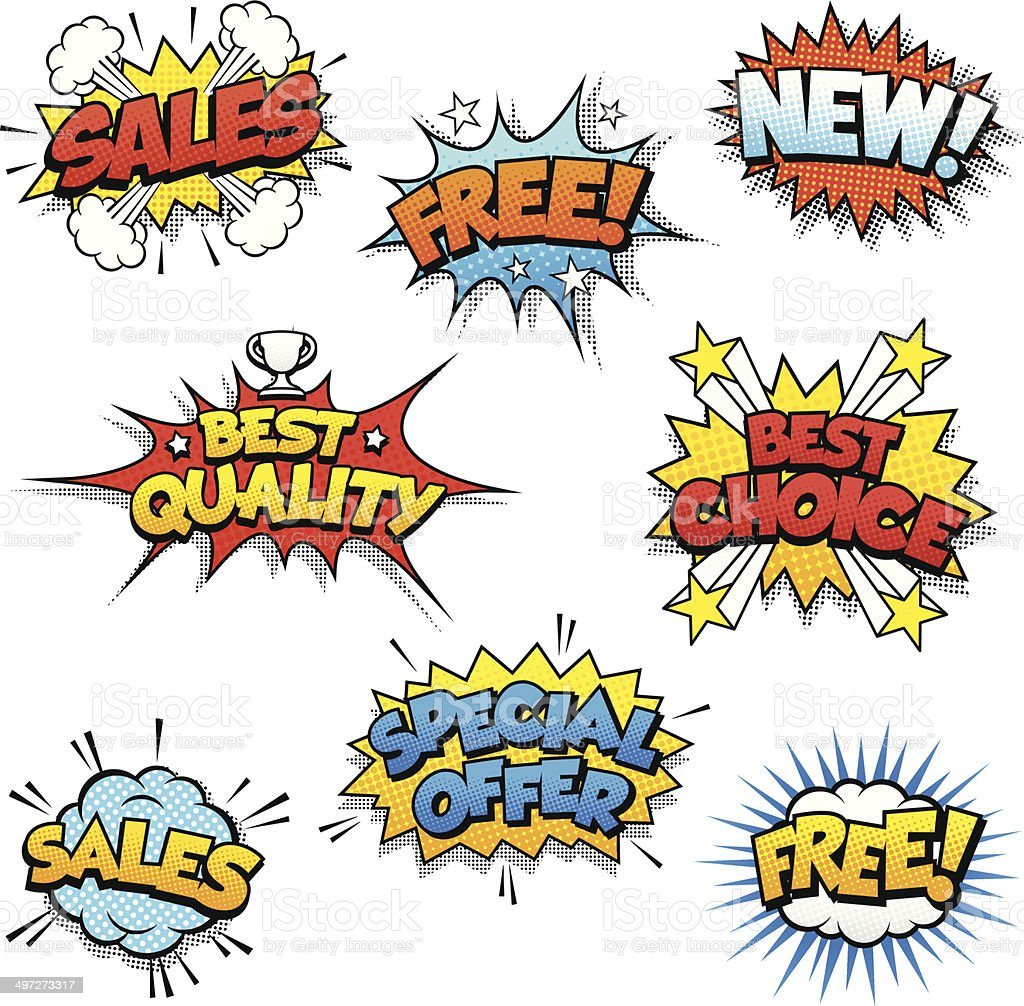 Cartoon Promotional Graphics vector art illustration