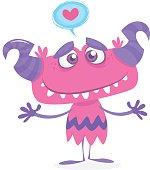 Cartoon purple cool monster in love. St Valentines vector illustration
