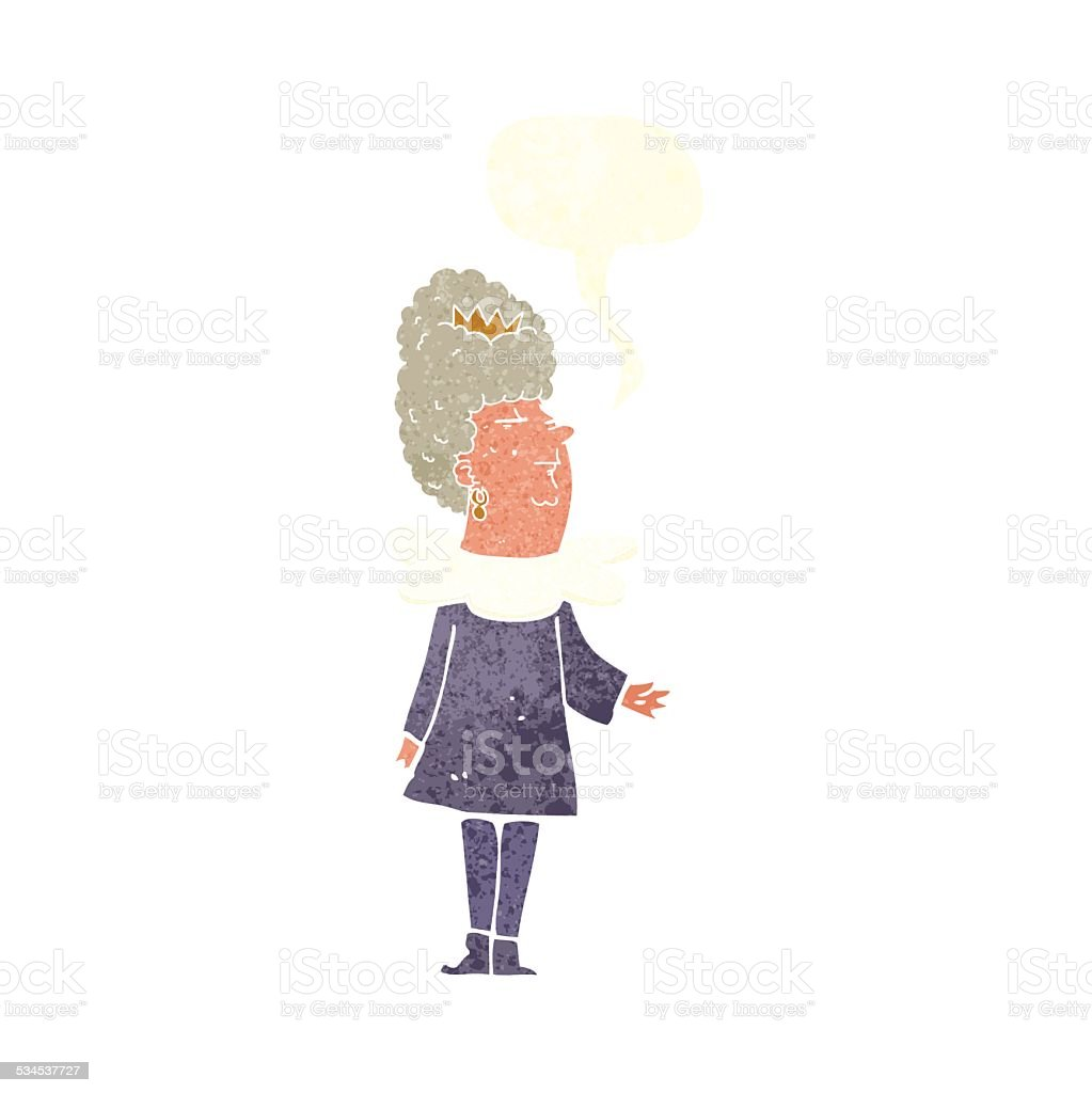 cartoon queen with speech bubble vector art illustration