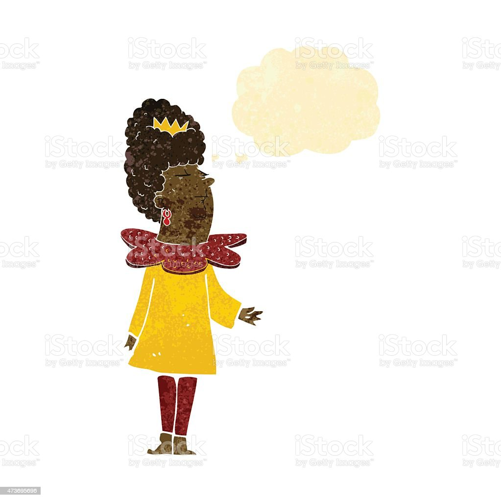 cartoon queen with thought bubble vector art illustration
