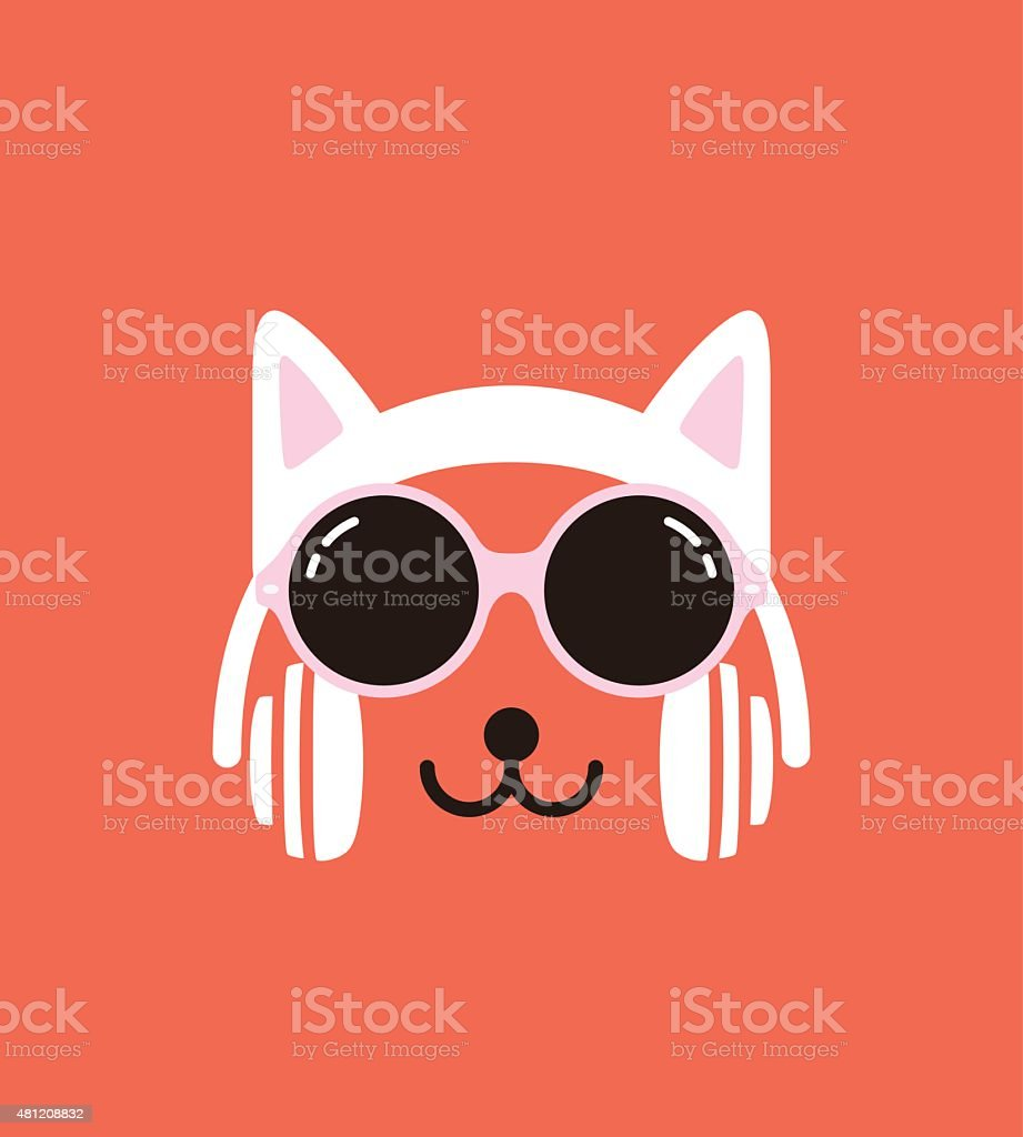 Cartoon Rabbit wearing a Cat' sheadset and glasses, vector vector art illustration