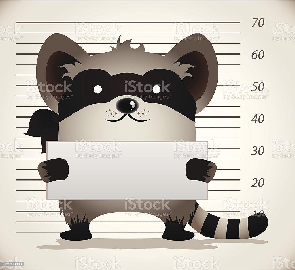 Cartoon Raccoon Mug Shot royalty-free stock vector art