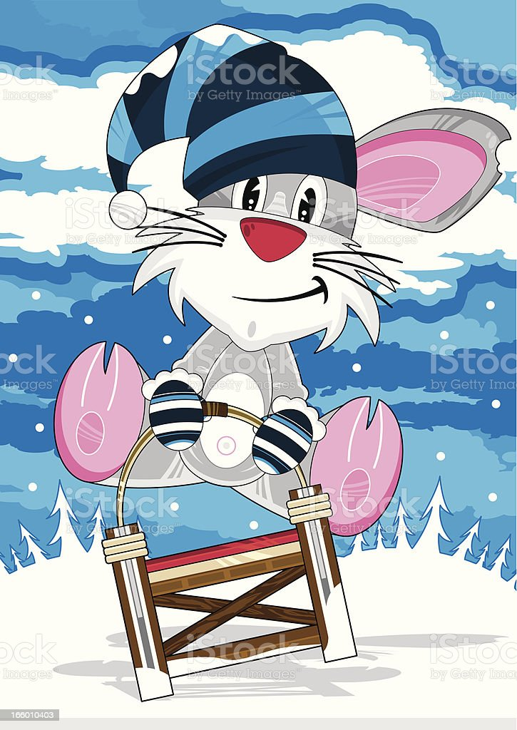 Cartoon Rat in Wooly Hat on Sledge royalty-free stock vector art