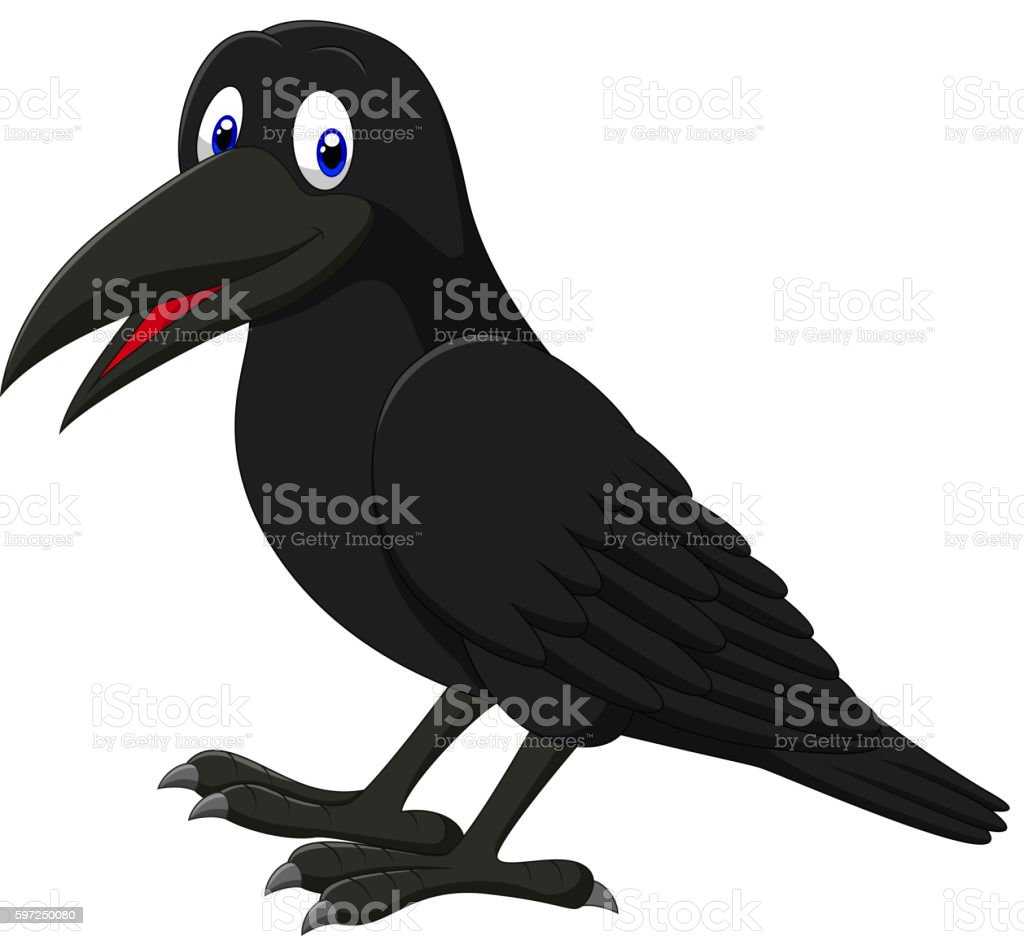Cartoon raven isolated on white background vector art illustration