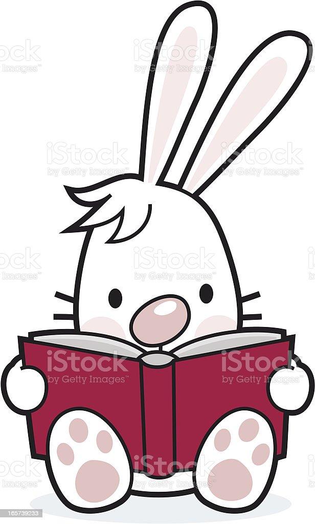 cartoon / reading rabbit with book vector art illustration