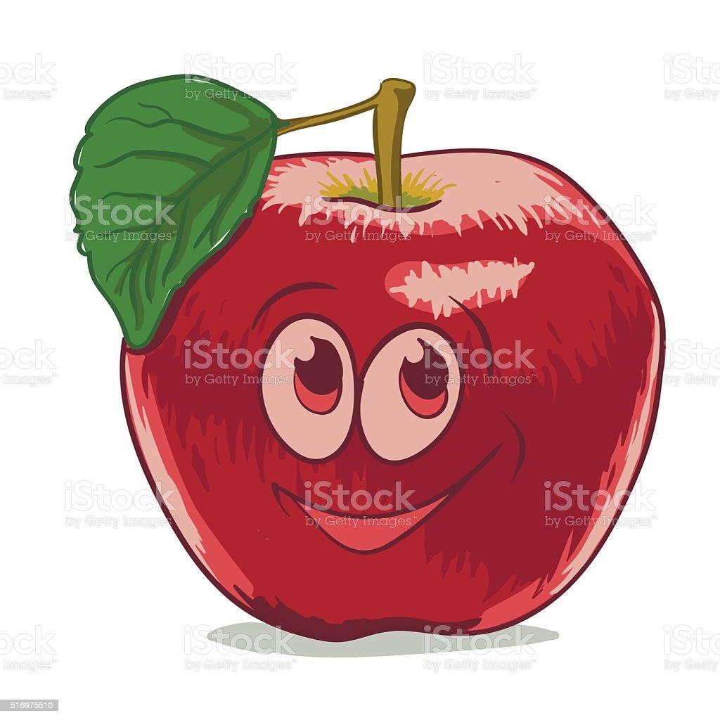 Dessin animé pomme rouge stock vecteur libres de droits libre de droits