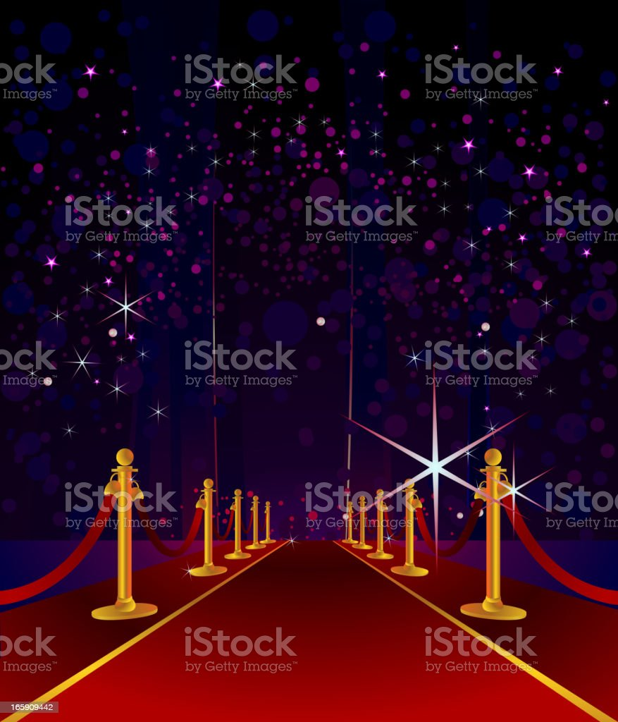 Cartoon red carpet with stars in night sky background vector art illustration