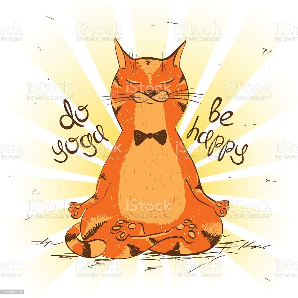 Cartoon Rote Katze Sitzt Auf Yoga Lotusposition Vektor ...