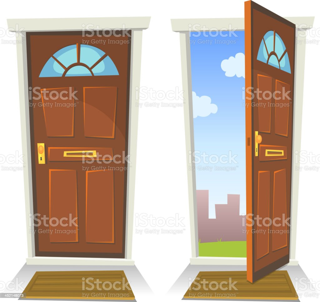 Cartoon Red Door, Open And Closed vector art illustration