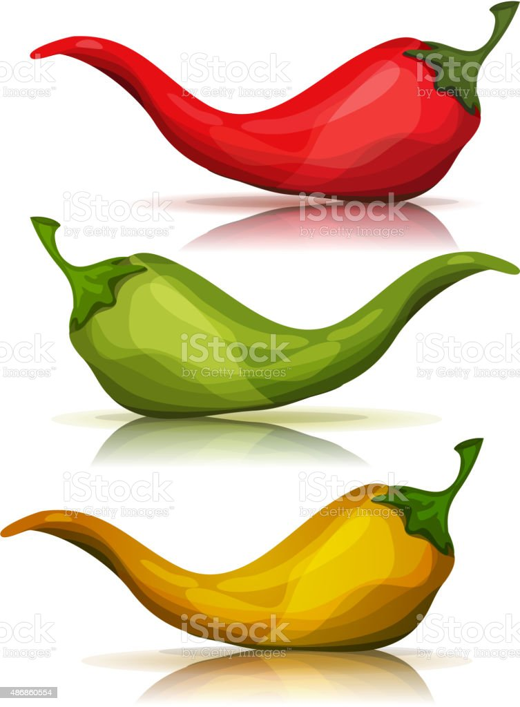 Cartoon Red, Green And Yellow Hot Chili Pepper vector art illustration