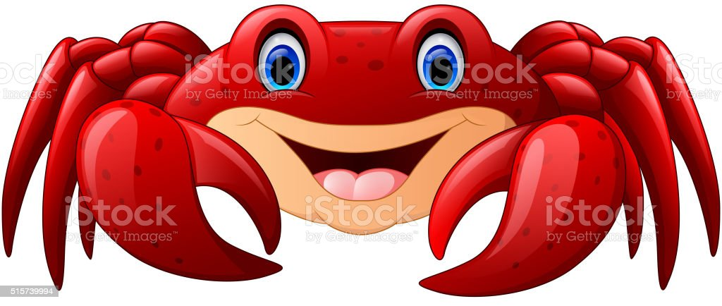 Cartoon red marine crab vector art illustration