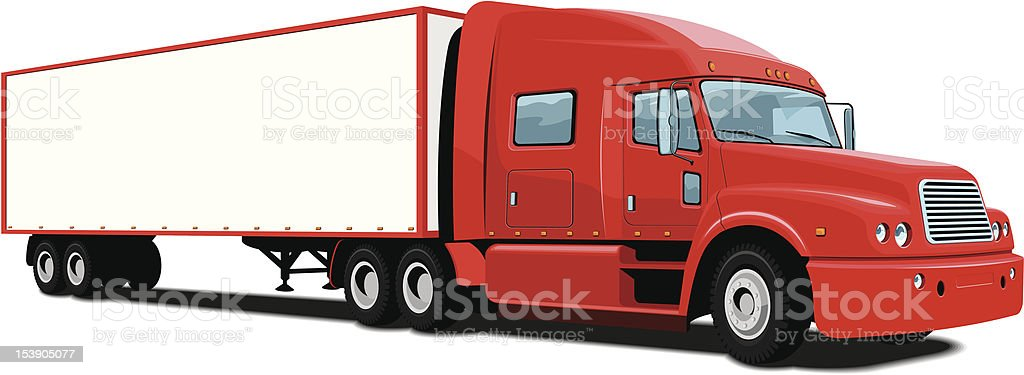 Cartoon red semi truck parked on a white background royalty-free stock vector art