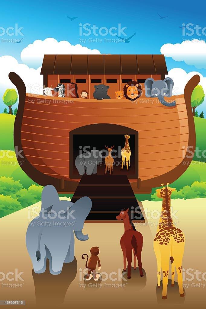 Cartoon representation of animals entering Noah's ark vector art illustration