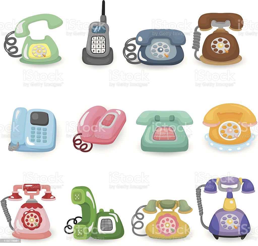cartoon retro home phone icon set royalty-free stock vector art