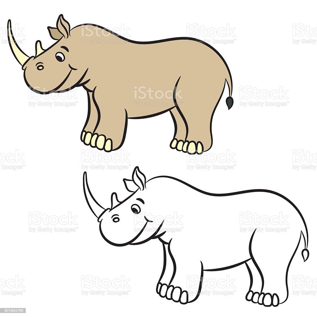 cartoon rhino coloring book stock vector art 621934760 istock