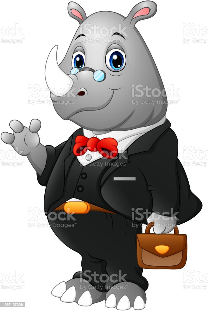 Cartoon rhinoceros businessman waving vector art illustration