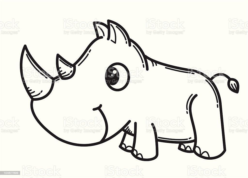 Rhinoc ros dessin anim stock vecteur libres de droits - Rhinoceros dessin ...