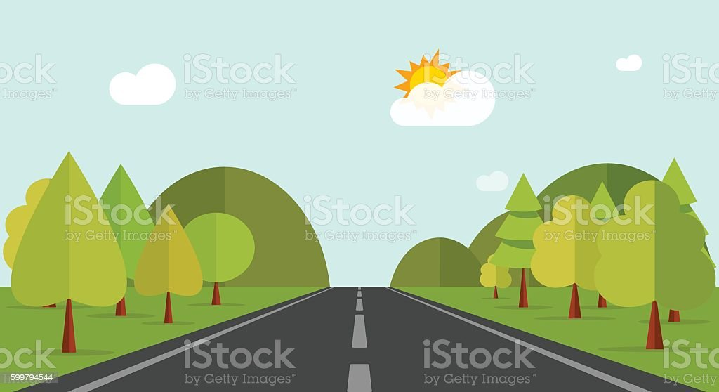 Cartoon road across green forest hills, mountains, nature landscape, highway vector art illustration