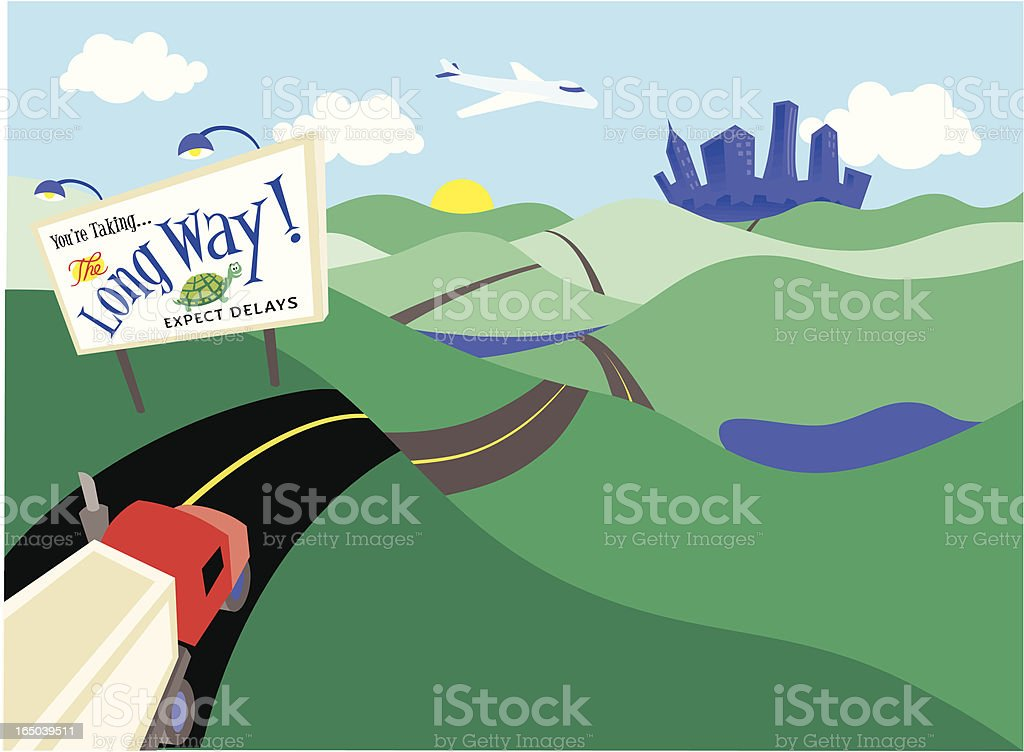 Cartoon road with a truck on the long way to city in back vector art illustration