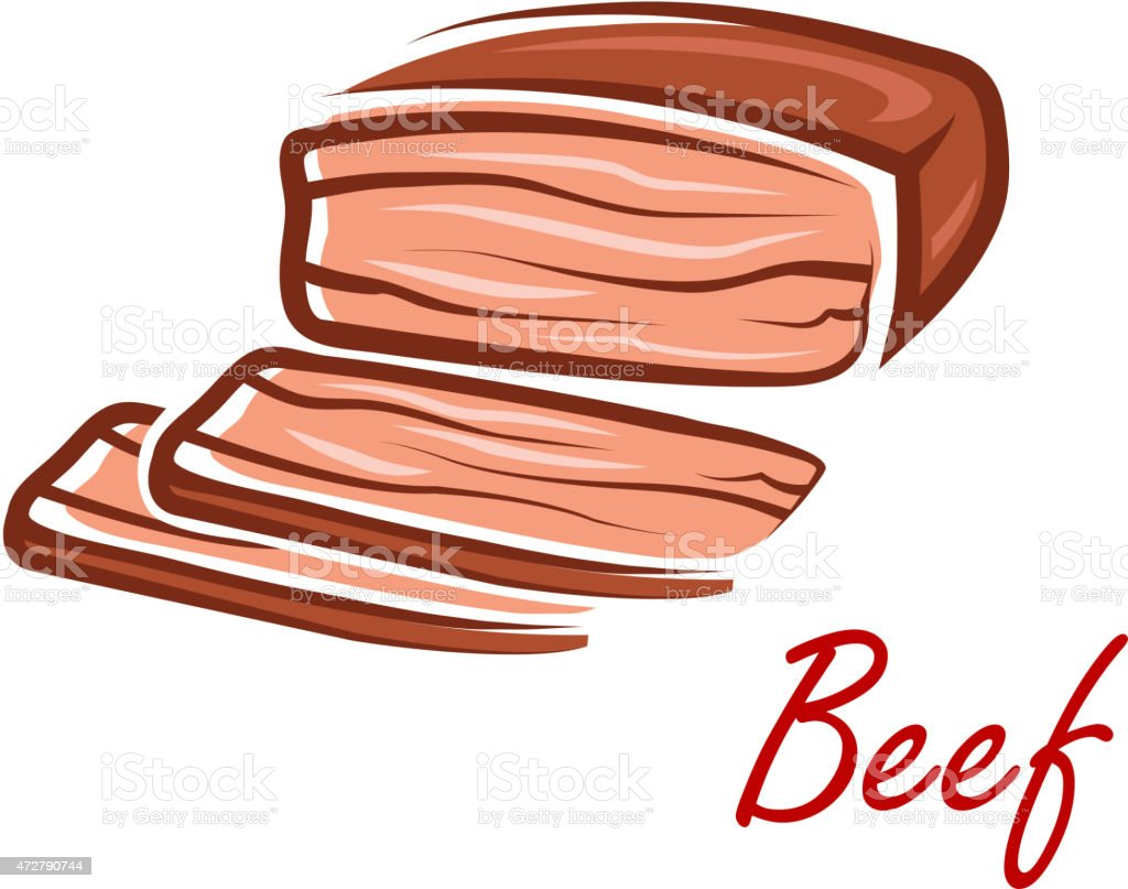 Cartoon roast beef in retro style vector art illustration