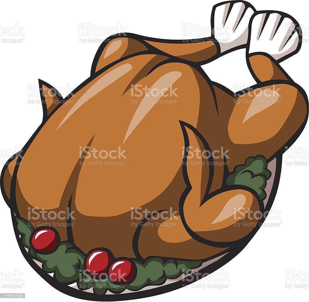 Cartoon Roast Turkey vector art illustration