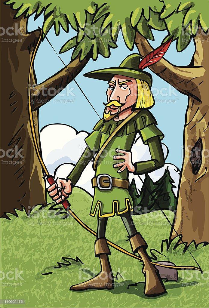 Cartoon Robin Hood in Sherwood forest vector art illustration
