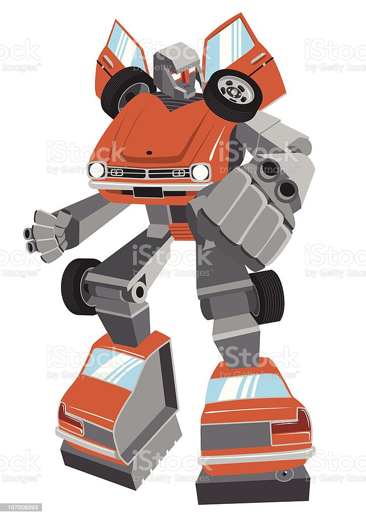 Cartoon robot made from vintage car, vector stock photo