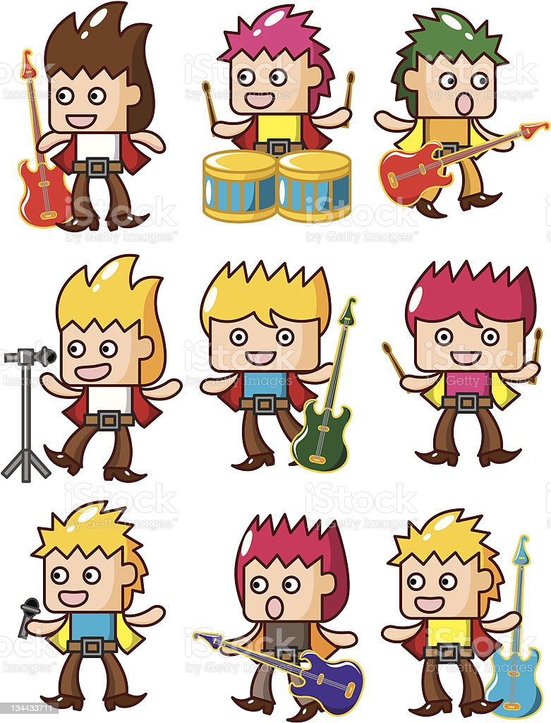 cartoon rock music band royalty-free stock vector art