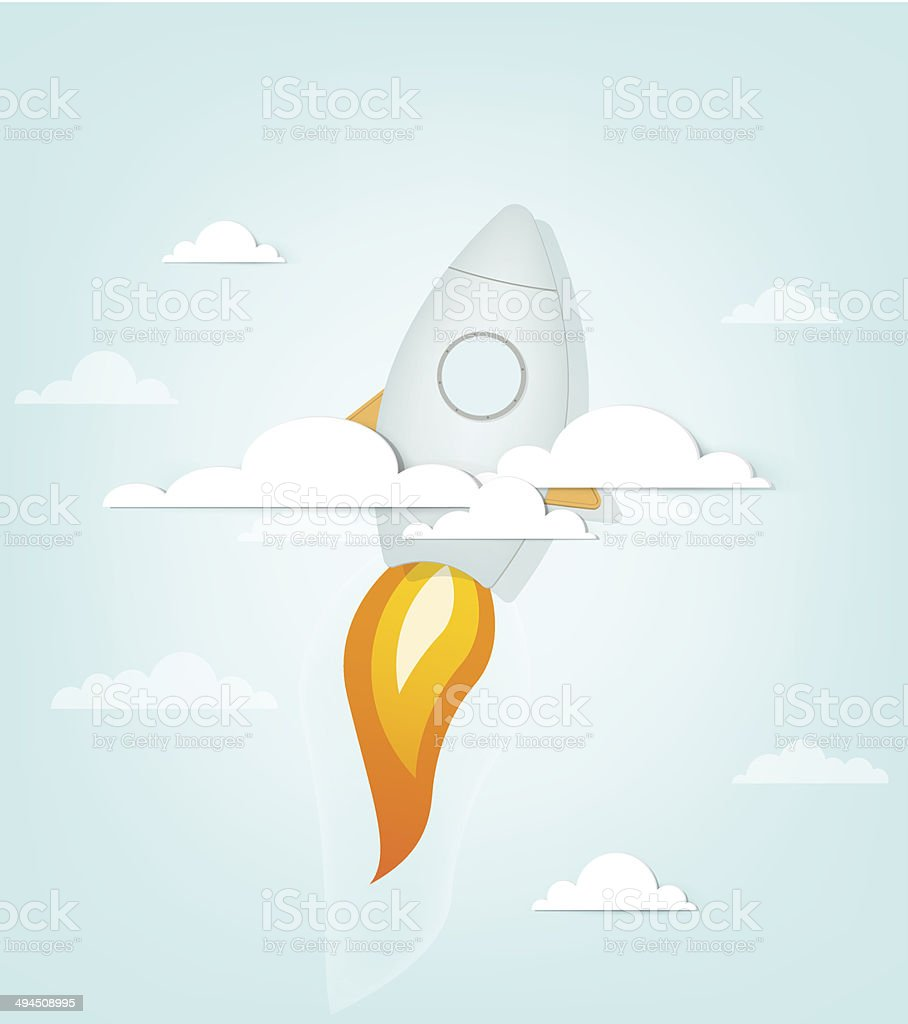 Fusée de dessin animé de livraison dans le ciel stock vecteur libres de droits libre de droits