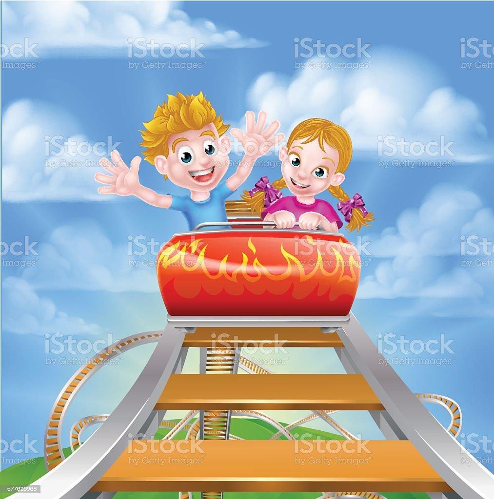 Cartoon Roller Coaster vector art illustration