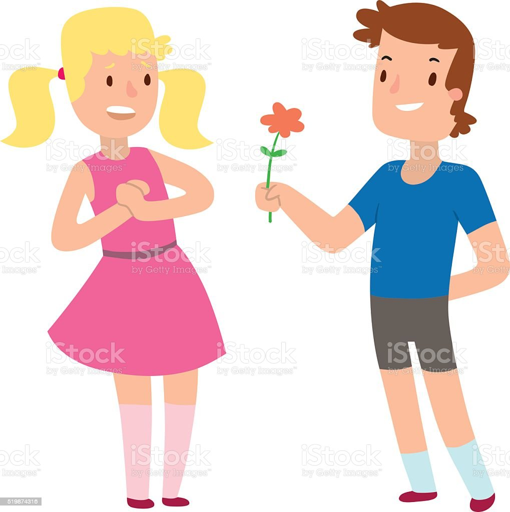 Cartoon romantic boy and girl giving a flower for love vector art illustration