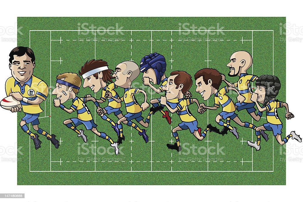 Cartoon rugby team royalty-free stock vector art
